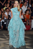 Christian Siriano Novelty Paisley Embroidered Poly Organza - Turquoise / Off-White