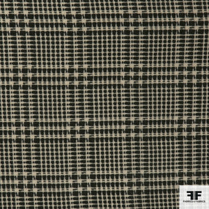 Plaid Cotton Blend Suiting - Green/Beige