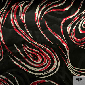 Abstract Silk Burnout - Black/Red/White