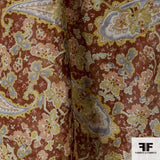 Paisley Printed Silk Chiffon - Brown/Multicolor