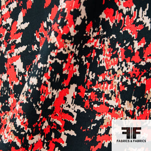 Abstract Cotton & Silk Print - Red/Black/Tan