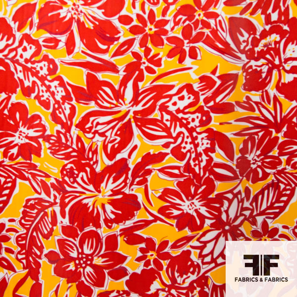 Tropical Floral Printed Silk Charmeuse - Red/Orange