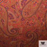 Paisley Printed Cotton Corduroy - Orange/Multicolor
