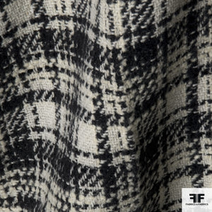 Plaid Wool Coating - Black/Cream