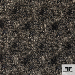 Metallic Abstract Brocade fabric - Black/Copper/Silver