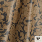 Orange/Grey/Gold Floral Silk Blend Novelty fabric