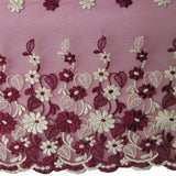 Floral Embroidered Tulle - Maroon/Light Gold