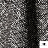 Basket Weave Wool Suiting - Black/White - Fabrics & Fabrics NY