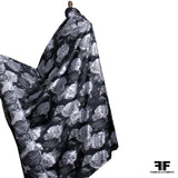 Floral Metallic Brocade - Black/Silver/Grey
