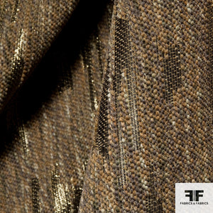 Metallic Wool Tweed - Brown