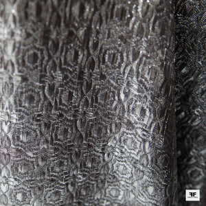 Metallic Geometric Brocade - Silver/Black