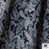 Metallic Paisley Brocade - Night Blue/Silver