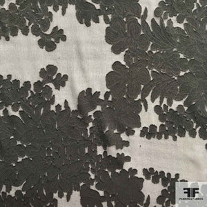 Floral Jacquard Silk Burnout - Black