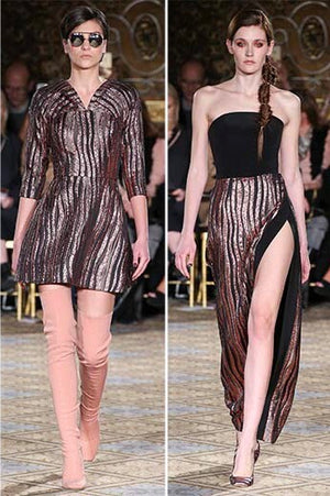 Christian Siriano Novelty Wavy Striped Textured Lame - Rose Gold / Black