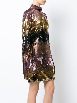 Christian Siriano Metallic Ombré Sequins - Gold / Pink / Black / Bronze