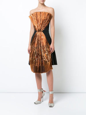Christian Siriano Italian Pleated Novelty - Metallic Copper