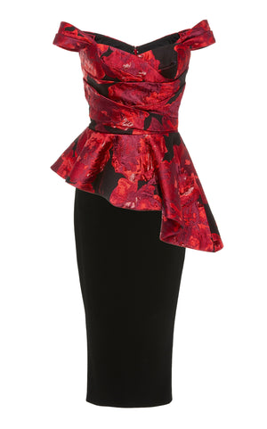 Pamella Roland Italian Metallic Floral Brocade - Red/Black