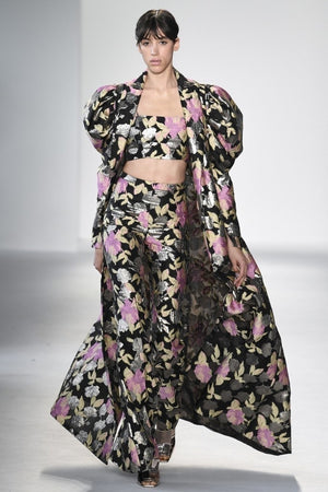 Christian Siriano Novelty Floral Textured Organza - Black / Antique Gold / Pink