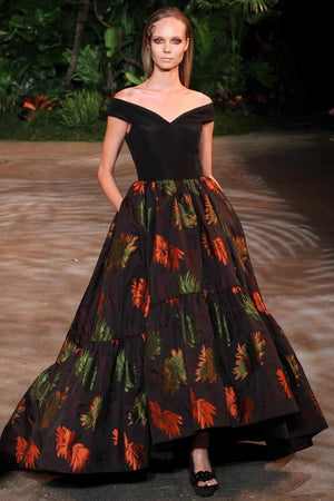 Christian Siriano Italian Floral Brocade - Plum / Orange / Green