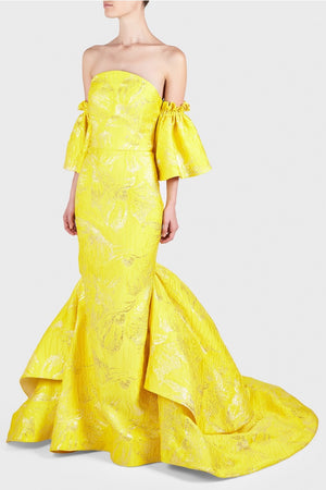 Christian Siriano Large-Scale Floral Metallic Italian Brocade - Yellow / Silver