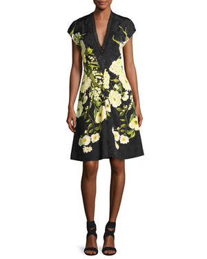 Naeem Khan Floral Arrangement Jacquard Brocade Panel - Yellow / Black
