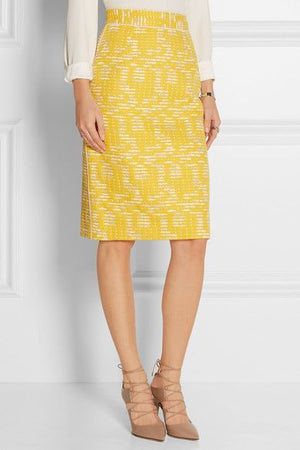 Oscar de la Renta Broken Striped Tweed Fused-Back Suiting - Yellow / White / Silver