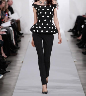 Oscar de la Renta Polka Dot Printed Silk Faille - Black / White