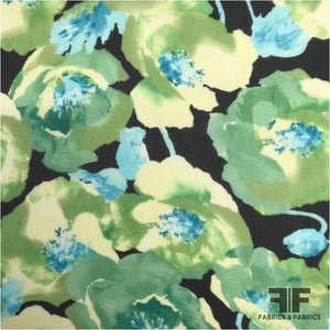 Watercolor Floral Printed Silk Chiffon - Green/Black - Fabrics & Fabrics