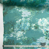 Abstract Floral Printed Silk Chiffon - Teal/White - Fabrics & Fabrics NY
