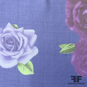 Rose Floral Printed Silk Chiffon - Royal Blue / Purple - Fabrics & Fabrics