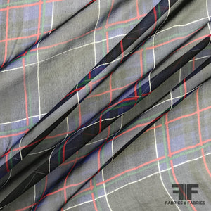 Window Pane Check Printed Silk Chiffon - Black/Blue/Red - Fabrics & Fabrics