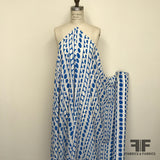 Geometric Printed Silk Georgette - Blue/White