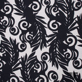 Large-Scale Fern Printed Wool Crepe - Black/Off-White