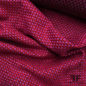 Italian Wool Checkered Tweed - Fuchsia/Red/Black - Fabrics & Fabrics