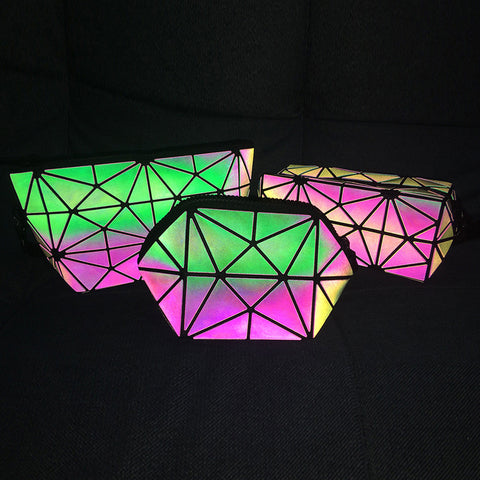 luminesk handbag cosmetic makeup bag holographic