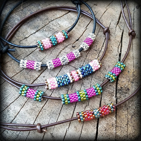 peyote stitch beaded necklace glass beads