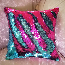 "Mermaid Pillow 10""x10"" One Side Sequins Stuffed Pillow - Succulent Treasure"