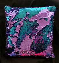 "Mermaid Pillow 16""x16"" One Side Sequins Stuffed Pillow - Succulent Treasure"
