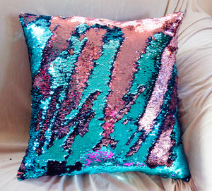 "Mermaid Pillow 18""x18"" One Side Sequins Stuffed Pillow - Succulent Treasure"