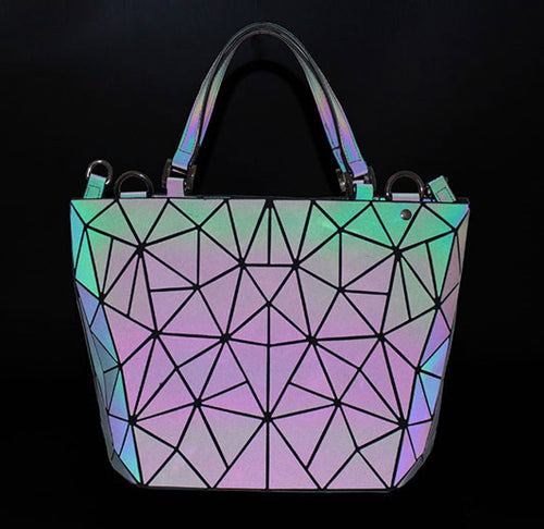 Luminesk Star Messenger Handbag Holographic Rainbow Purse - Succulent Treasure