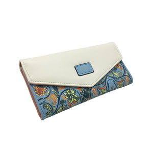 Paisley Design Foldover Trifold Wallet - Succulent Treasure