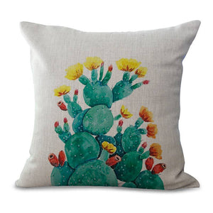 Cactus Print Pillow Case - Succulent Treasure