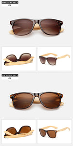 Bamboo Wayfarer Sunglasses with Colored Frame - Succulent Treasure