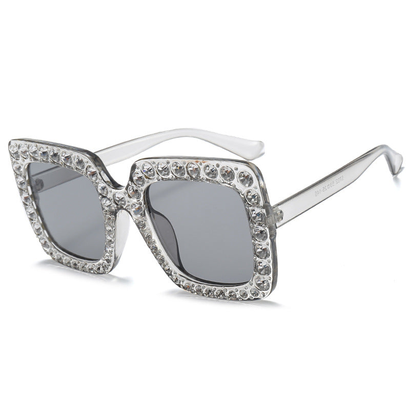 Oversized Luxury Rhinestone Crystal Retro Style Sunglasses - Succulent Treasure
