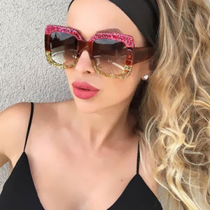 Oversized Cat Eye Two Toned Retro Style Sunglasses - Succulent Treasure