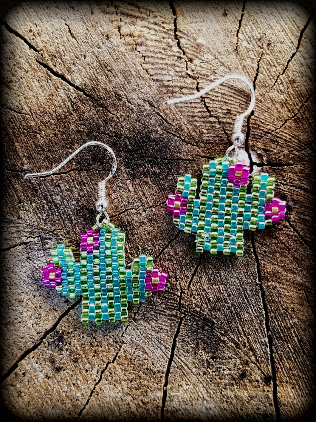 Handmade Beaded Cactus Earrings on Sterling Silver Ear Wire - Succulent Treasure
