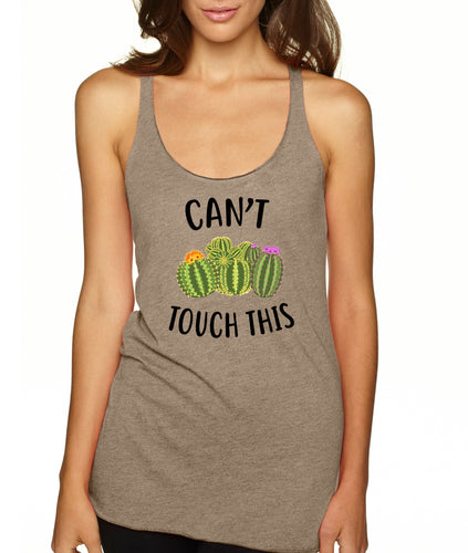 Can't Touch This Cactus Graphic Racerback Tank Top - Succulent Treasure