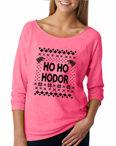 Ho Ho Hodor Ugly Christmas Sweater Raglan - Succulent Treasure