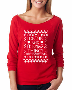I Drink and I Know Things Ugly Christmas Sweater Raglan - Succulent Treasure