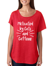 Motivated by Cats and Caffeine Flowy Dolman Tee - Succulent Treasure